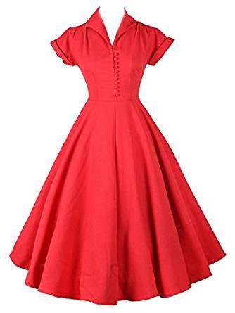 iLover 50s Retro vintage Rockabilly kleid Hepburn Stil ...
