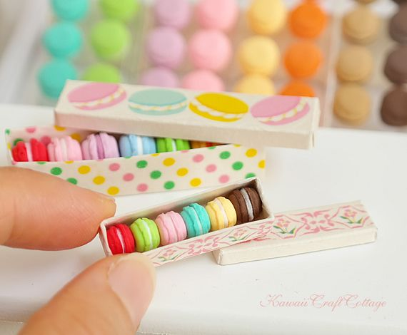 Miniature macarons, cute, French, macaron, macaroon, macaroons, pastry, patisserie, dessert, pastries, meringue, sweets, candy, candies, Valentine, Mother's day, Birthday, Wedding, Gift, Miniature collectibles, Miniatures, Dollhouse, 1:12 scale, 1/6 scale, Kawaii, fake food, doll food, 12th scale, one inch scale, gift box