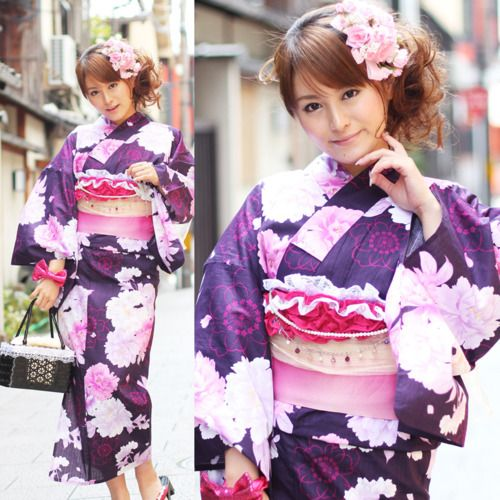 Purple and pink with a pattern of botan (peony) and sakura in the popular Nagoya princess style