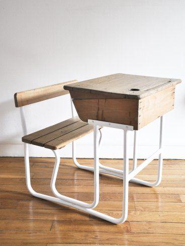 Bureau enfant bois pupitre colier ann es 60 - Petit bureau ecolier en bois ...