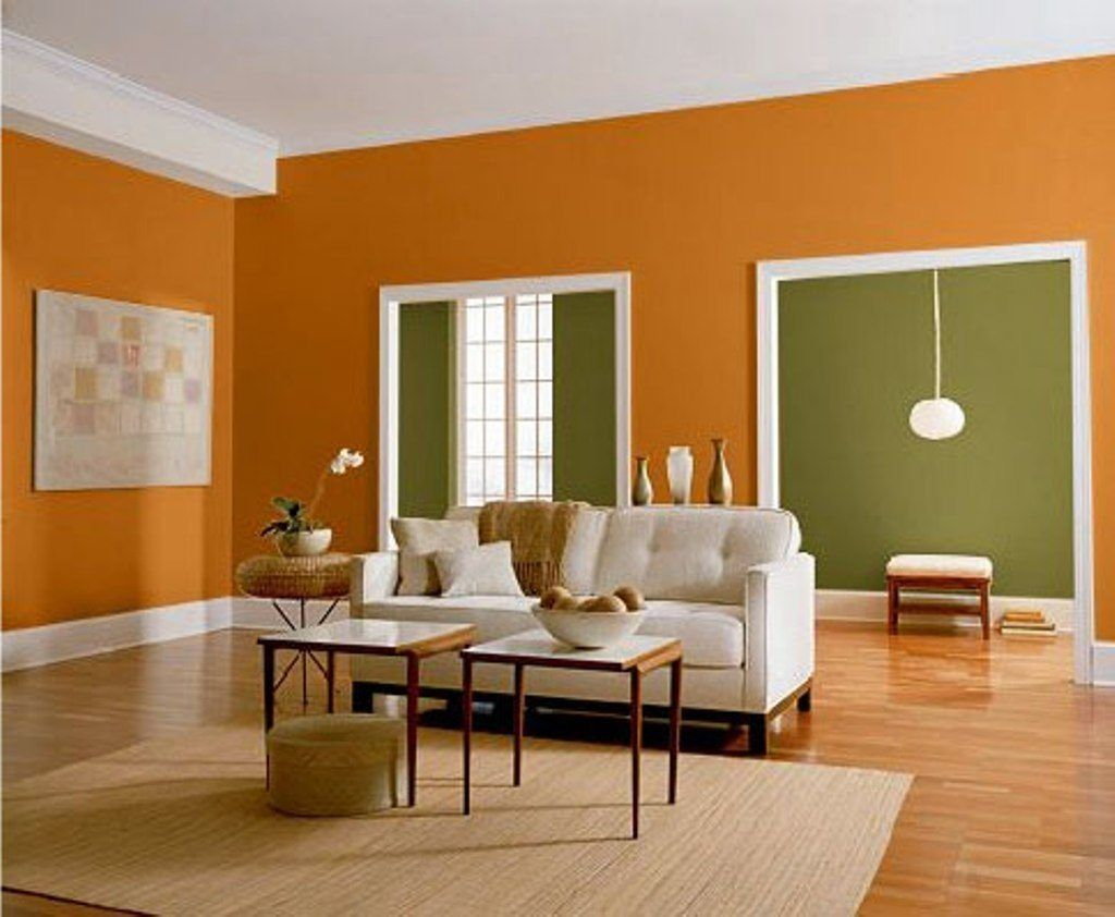Attractive Wall Colour Combination Images Decorations Orange And Green Color For Contemporary Living Interior Photos