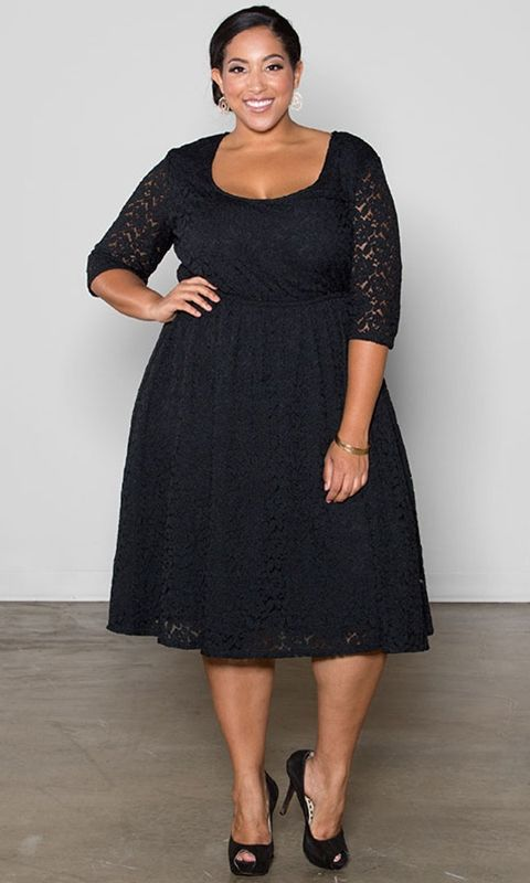 black lace dress with sleeves plus size - Sizing