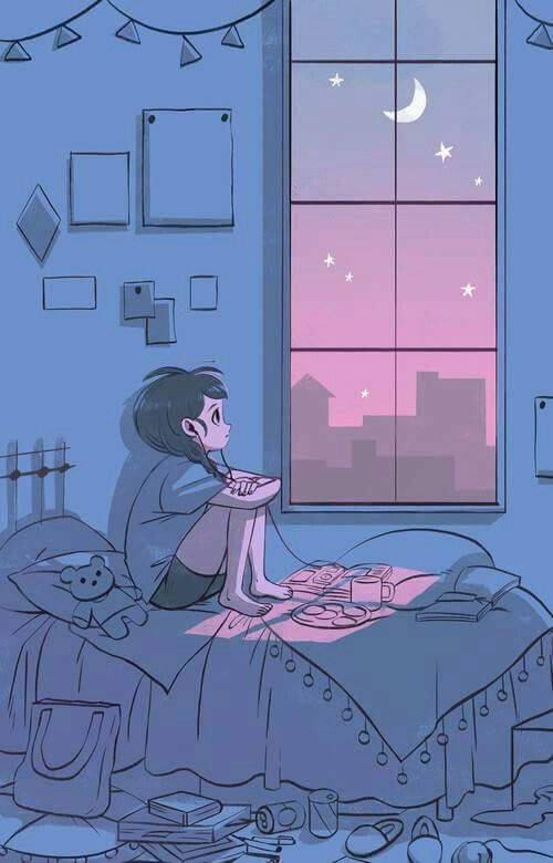 Girl Looking Out The Window And Listening To Music Pretty Art Aesthetic Art Animation Art