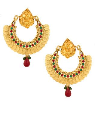 Crescent Shaped Temple Design Earrings Set With Gold Plating, Cz
