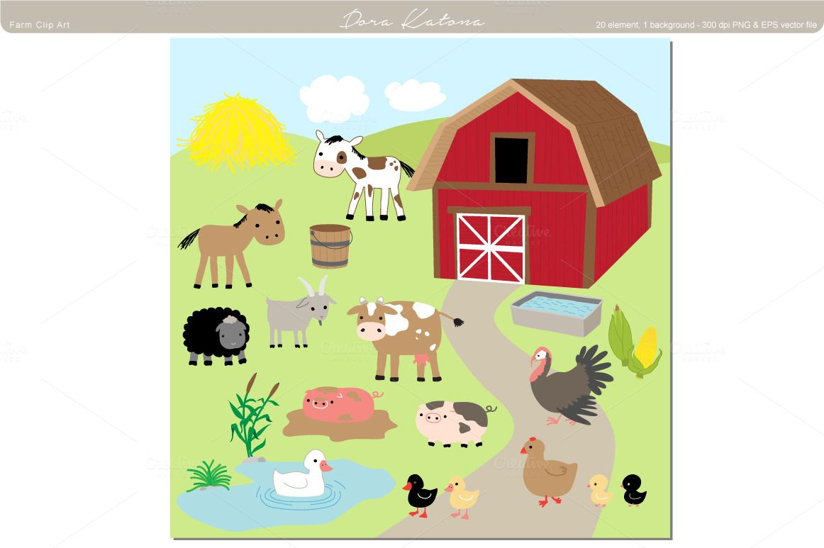 Baby Farm Animals Clip Art scene of barn and pond and animals - google search | the ugly