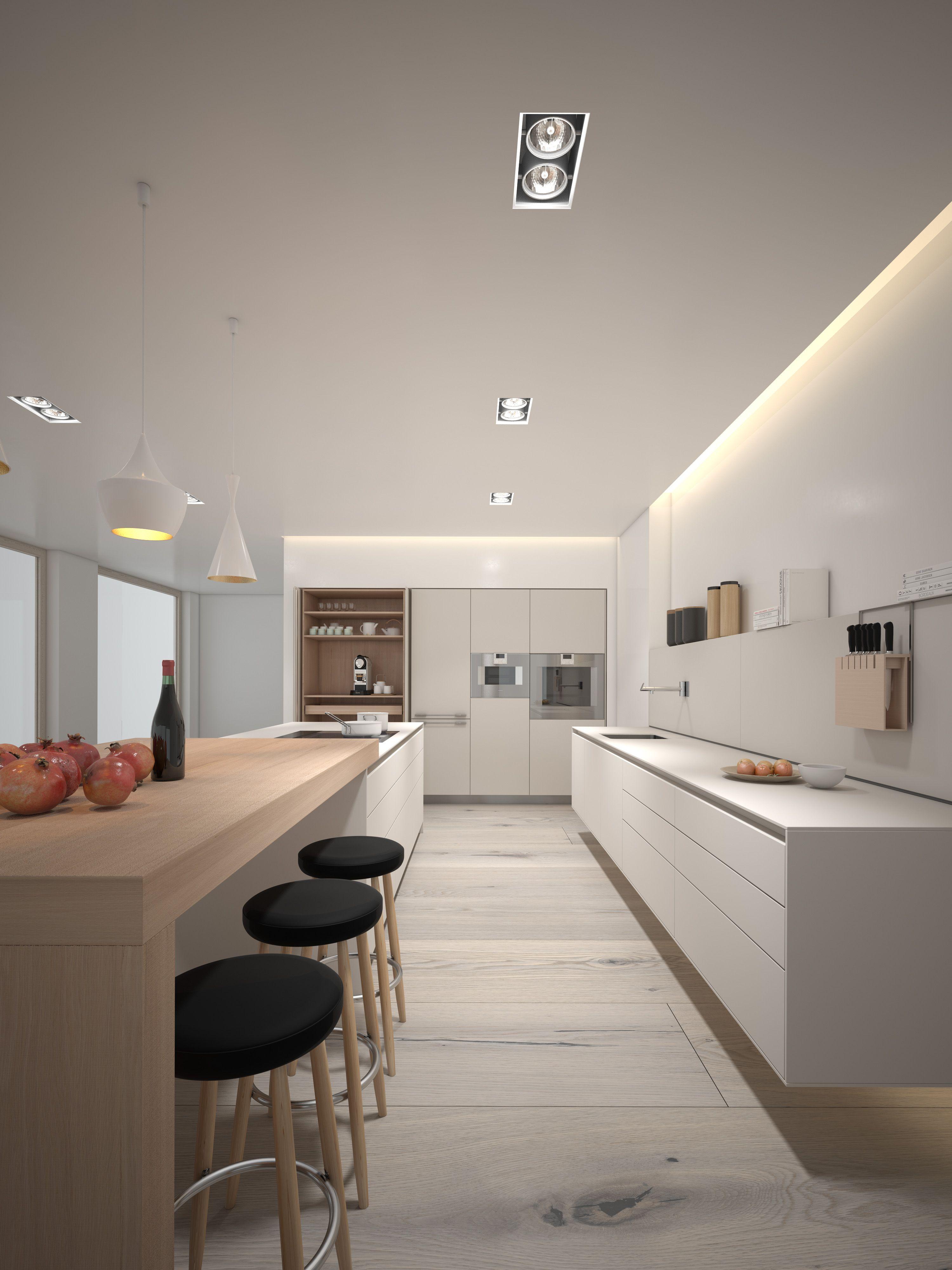 Kaolin + Oak B3 3d rendering | home | Pinterest | Cocinas ...