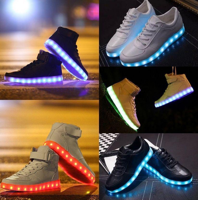 NEW Unisex LED Light Lace Up High Luminous Shoes Sportswear Sneaker Luminous