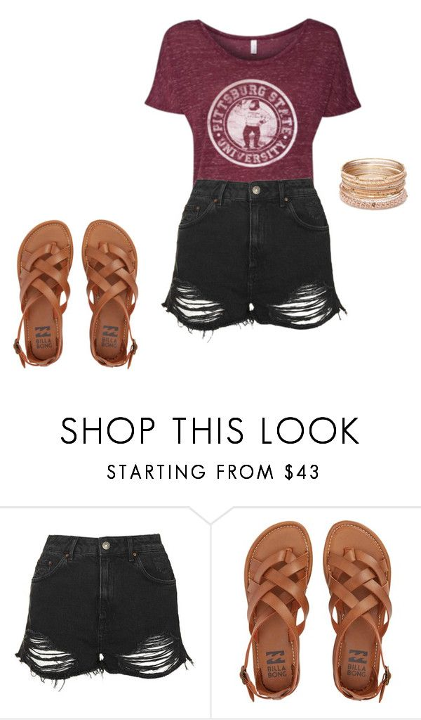 cute summer outfit by pittstategear on Polyvore featuring Topshop,  Billabong and Red Camel