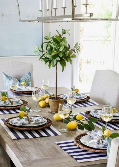 Pin By Naomi Rosa On Serve It Right Lemon Tablescape French Country Dining Room Furniture Table Decorations