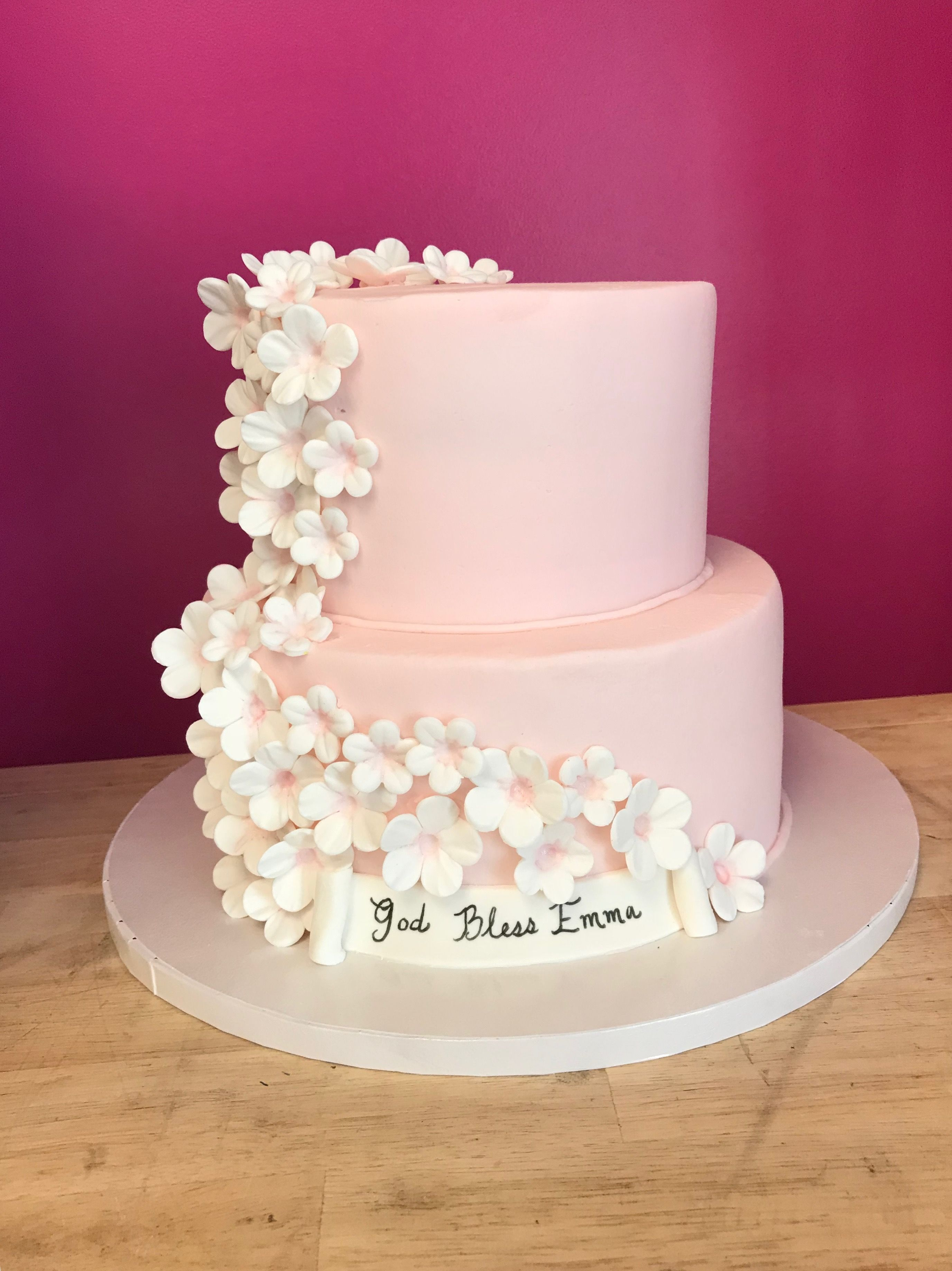 2 Tier Cascading Blossom Cake With Images Tiered Cakes