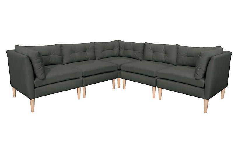 Best One Kings Lane Madeline Corner Sectional Charcoal 400 x 300