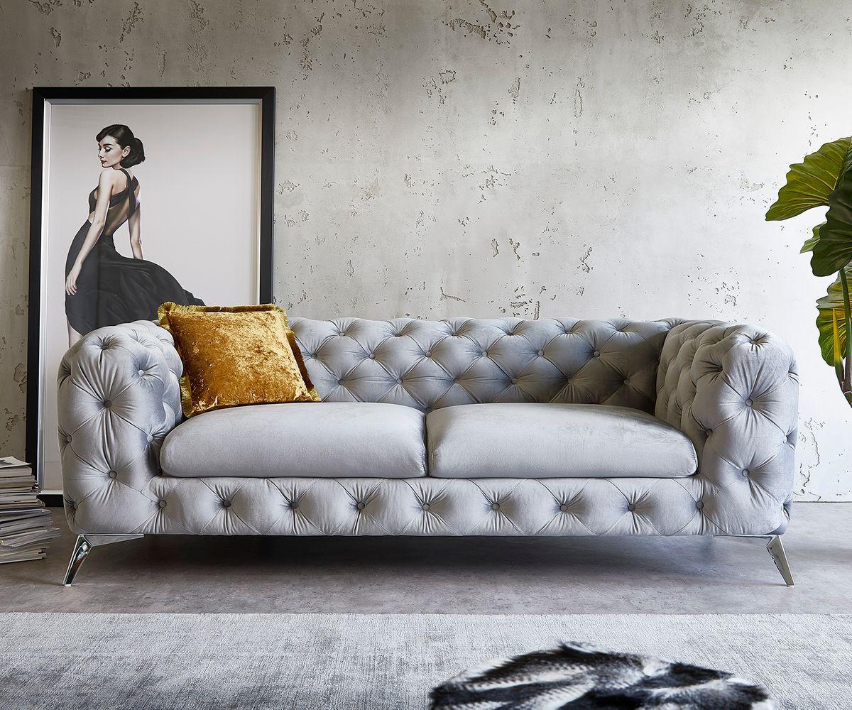 Couch Corleone 3 Sitzer Grau Samt Delife Eu In 2020 Wohnzimmer Stil Couch Sofa