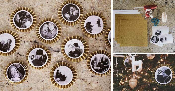 Kreatívny DIY nápad a návod urob si sám na milé vianočné ozdoby s  fotografiami na vianočný 913fa5a6d84