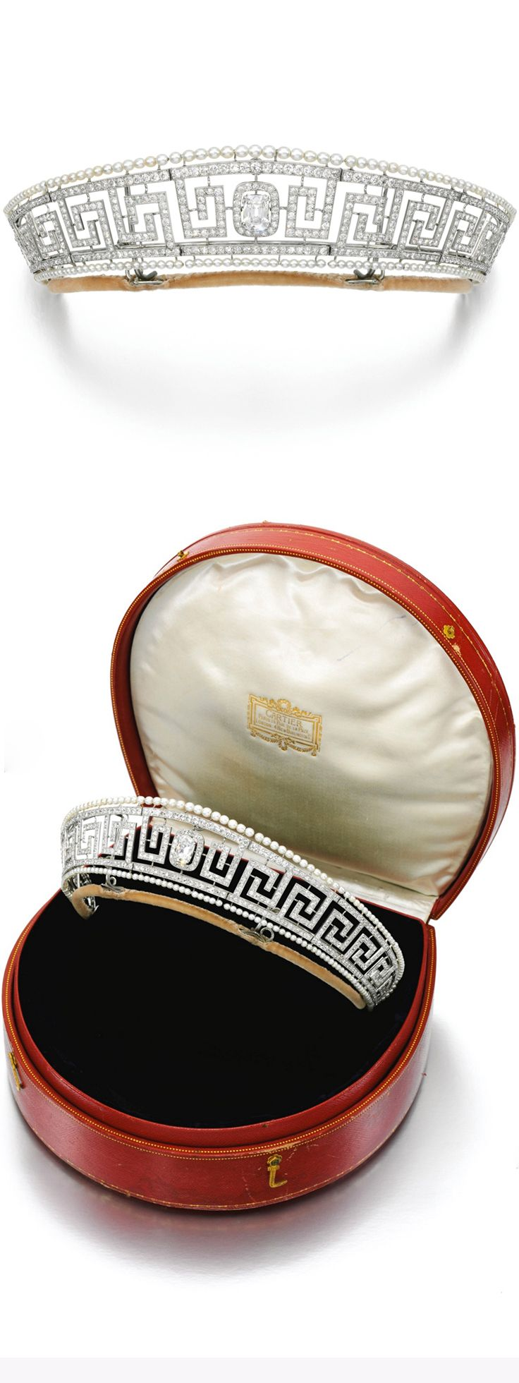 FORMERLY THE PROPERTY OF MARGUERITE LADY ALLAN (1873-1957). Important seed pearl and diamond tiara, Cartier, circa 1909. Designed as an open work Greek key band millegrain-set with circular-cut diamonds within an outer border of seed pearls, framing a central detachable old mine-cut diamond, inner circumference approximately 305mm, unsigned, later tiara frame, case stamped Cartier.
