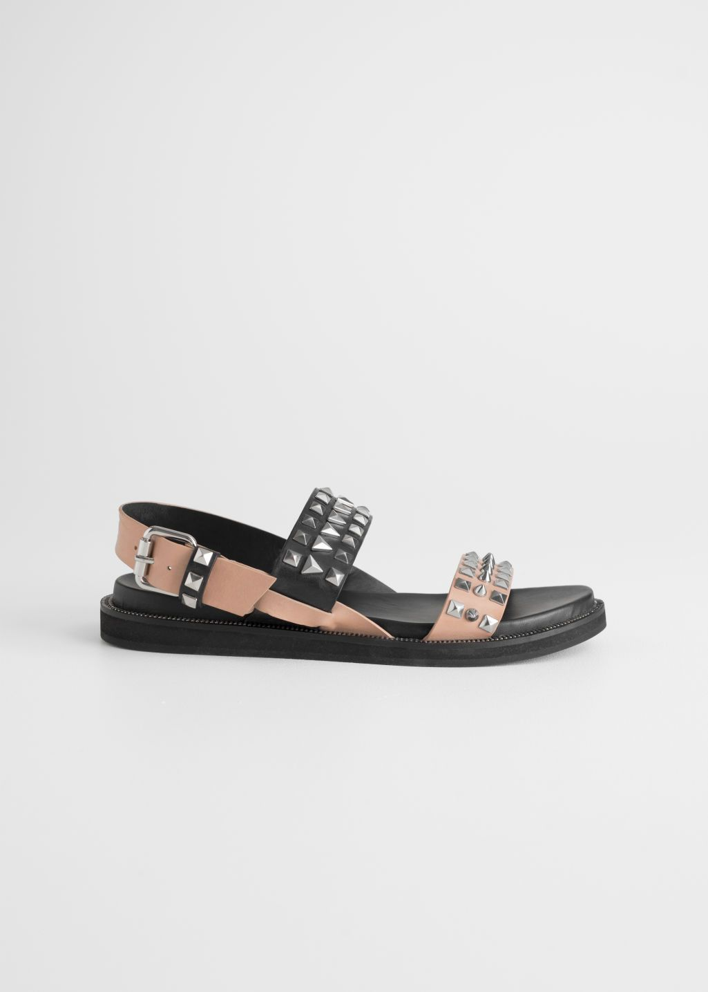 Two Toned Studded Sandals   Studded sandals, Leather sandals
