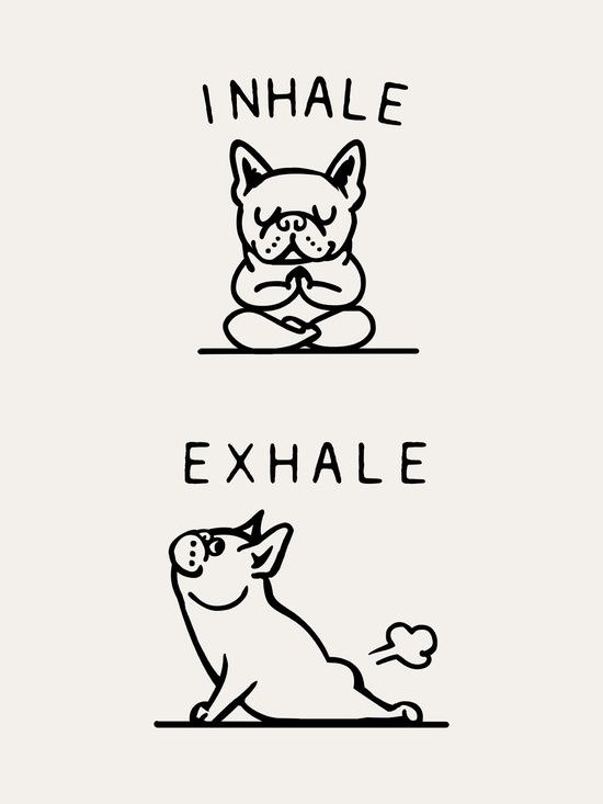 Inhale Exhale Frenchie Art Print by huebucket