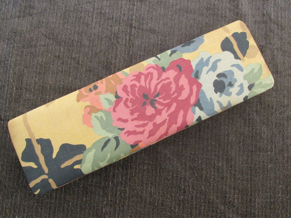 Beautiful large vintage French 1920s fabric covered glove box GALERIES LAFAYETTE