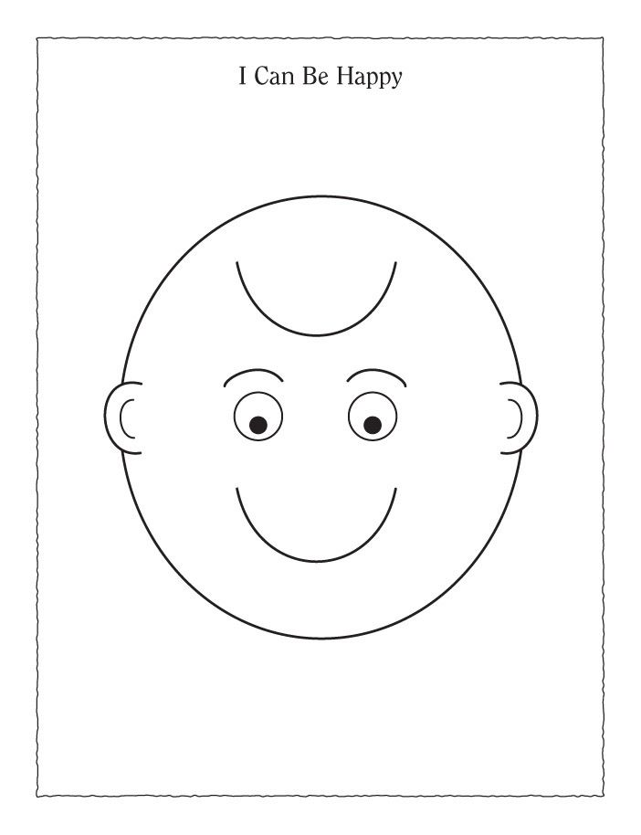 Coloring Page Smiling Frowning Face Singing Time