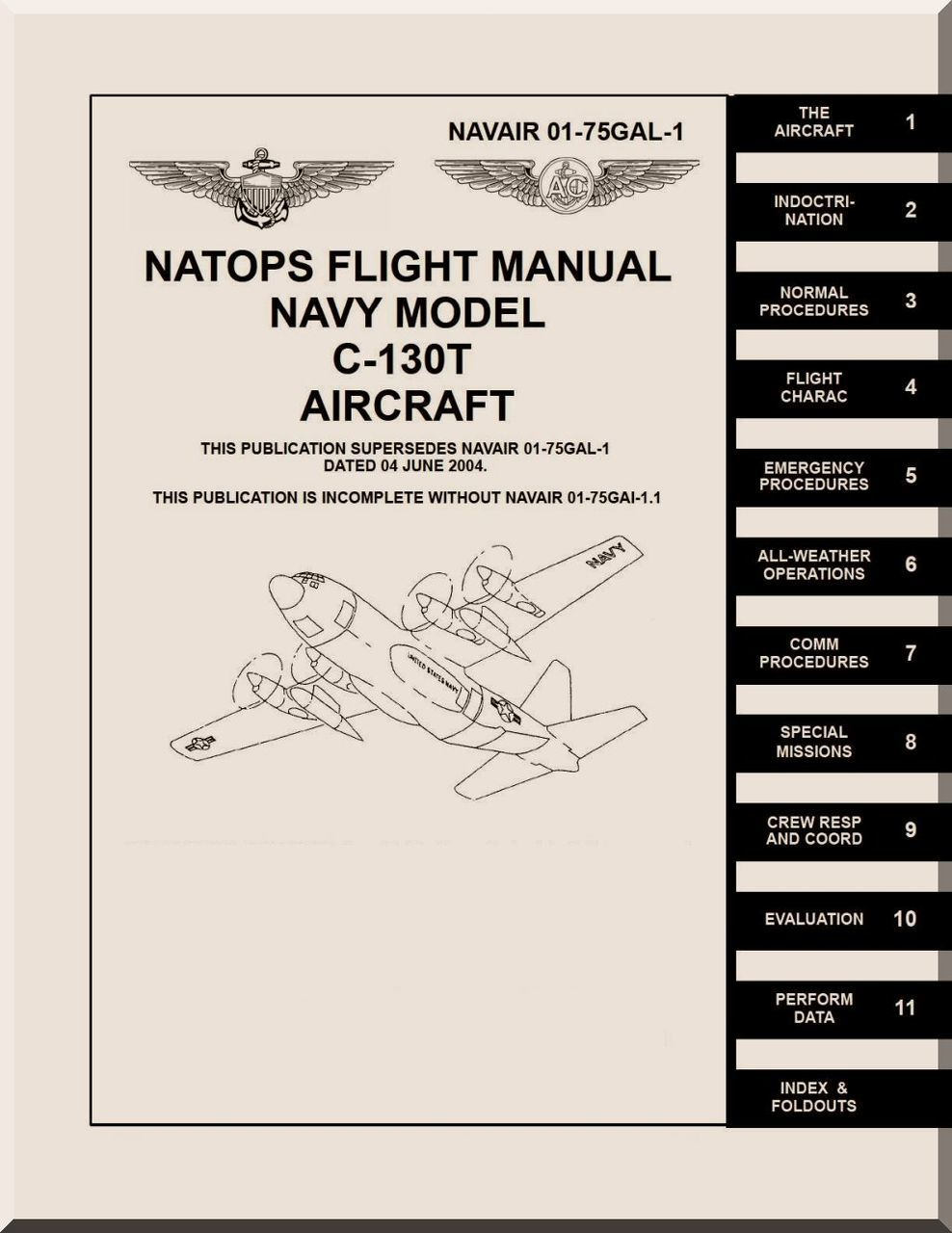 Lockheed C-130 T Aircraft Flight Manual, NAVAIR 01-75GAL-1 - Aircraft  Reports - Manuals Aircraft Helicopter Engines Propellers Blueprints  Publications