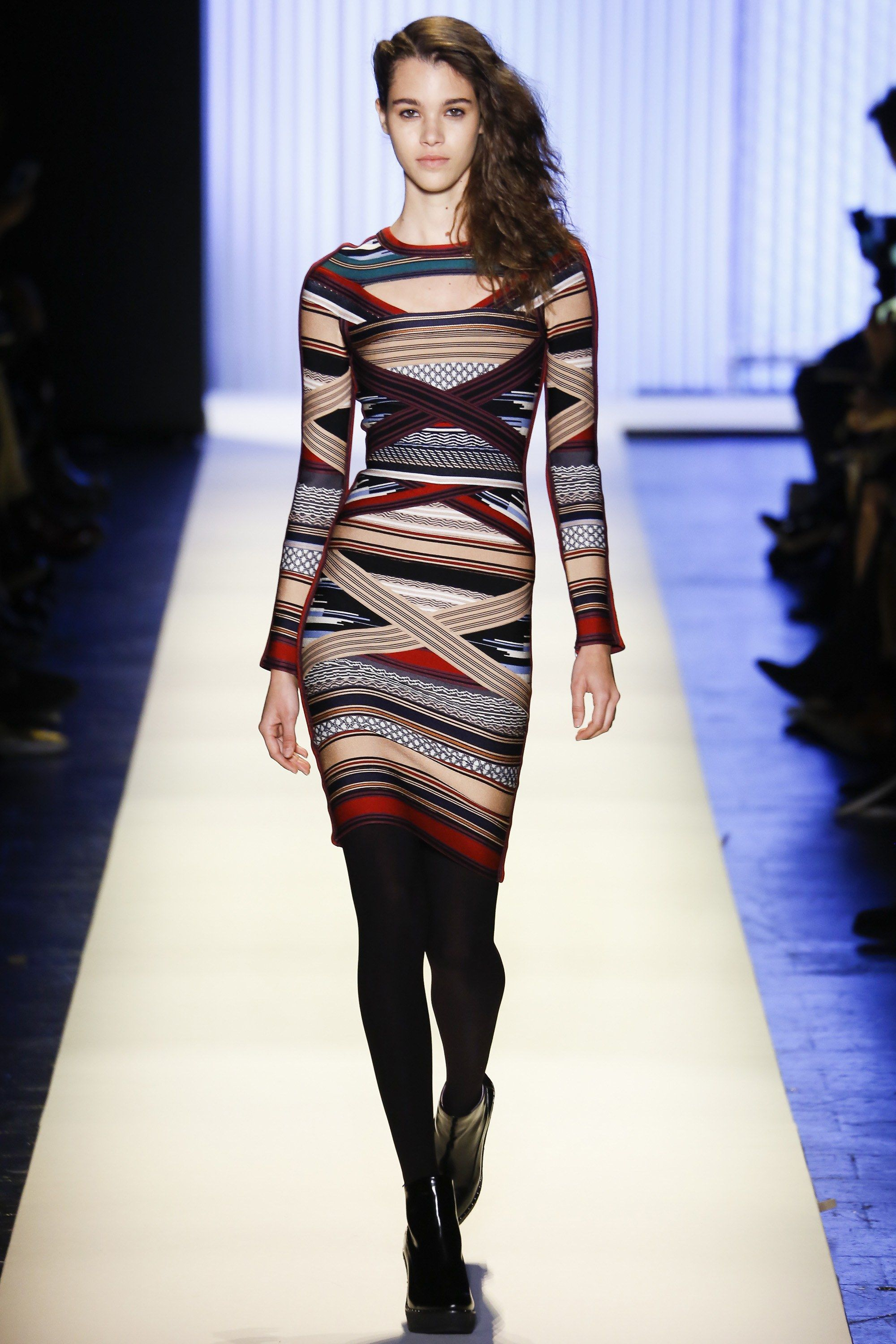 Hervé Léger by Max Azria | Fall 2016 Ready-to-Wear | 05 Multicolored striped long sleeve mini dress