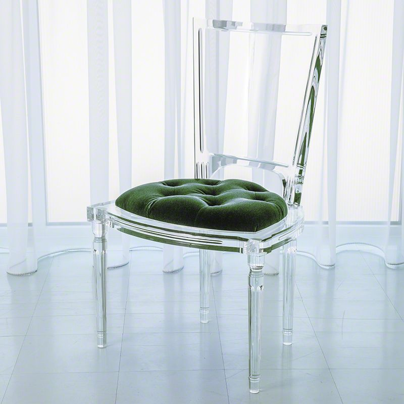 Marilyn Acrylic Side Chair In Emerald Green By Global Views
