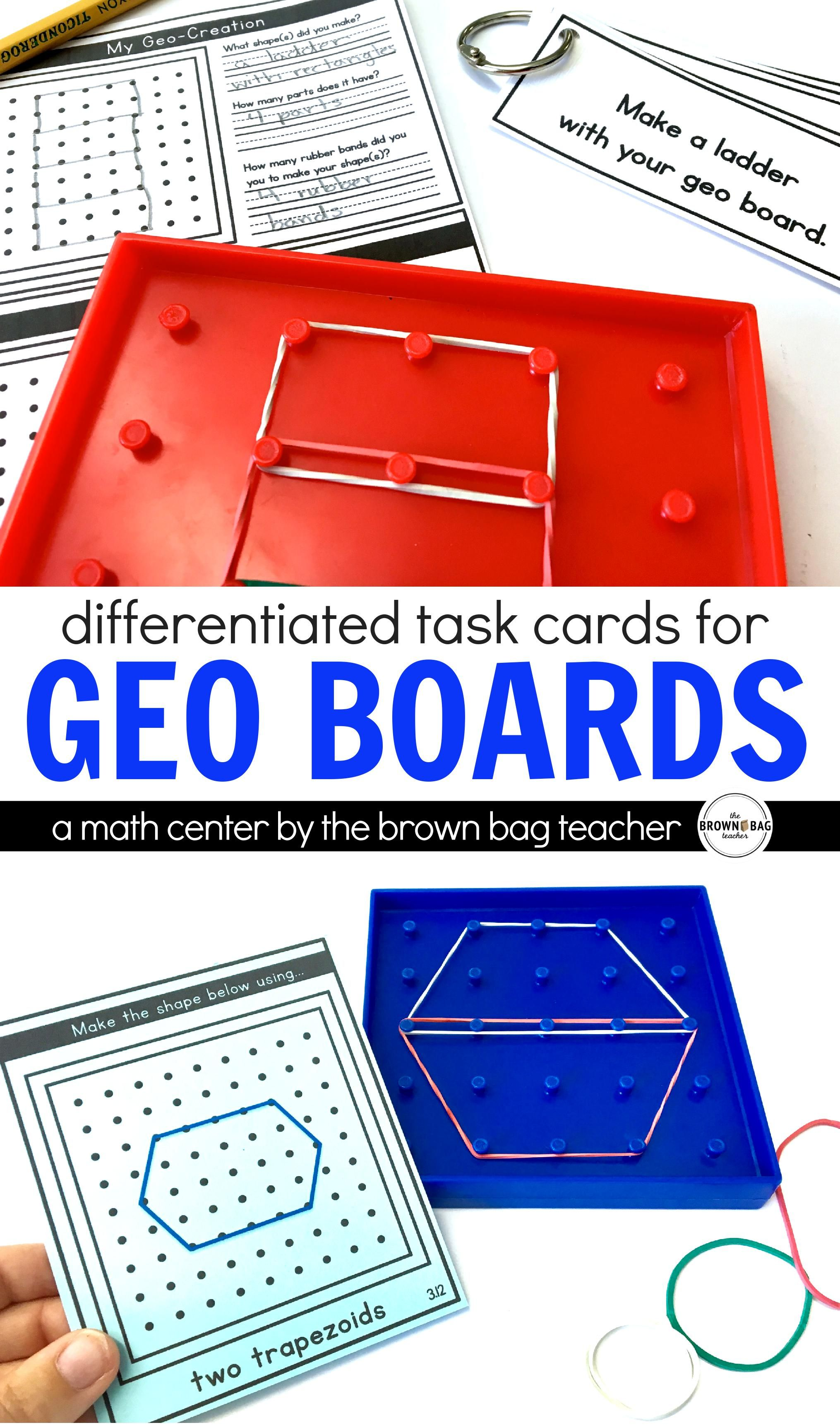 Differentiated Geo Board Task Cards A 1st Grade Math Center