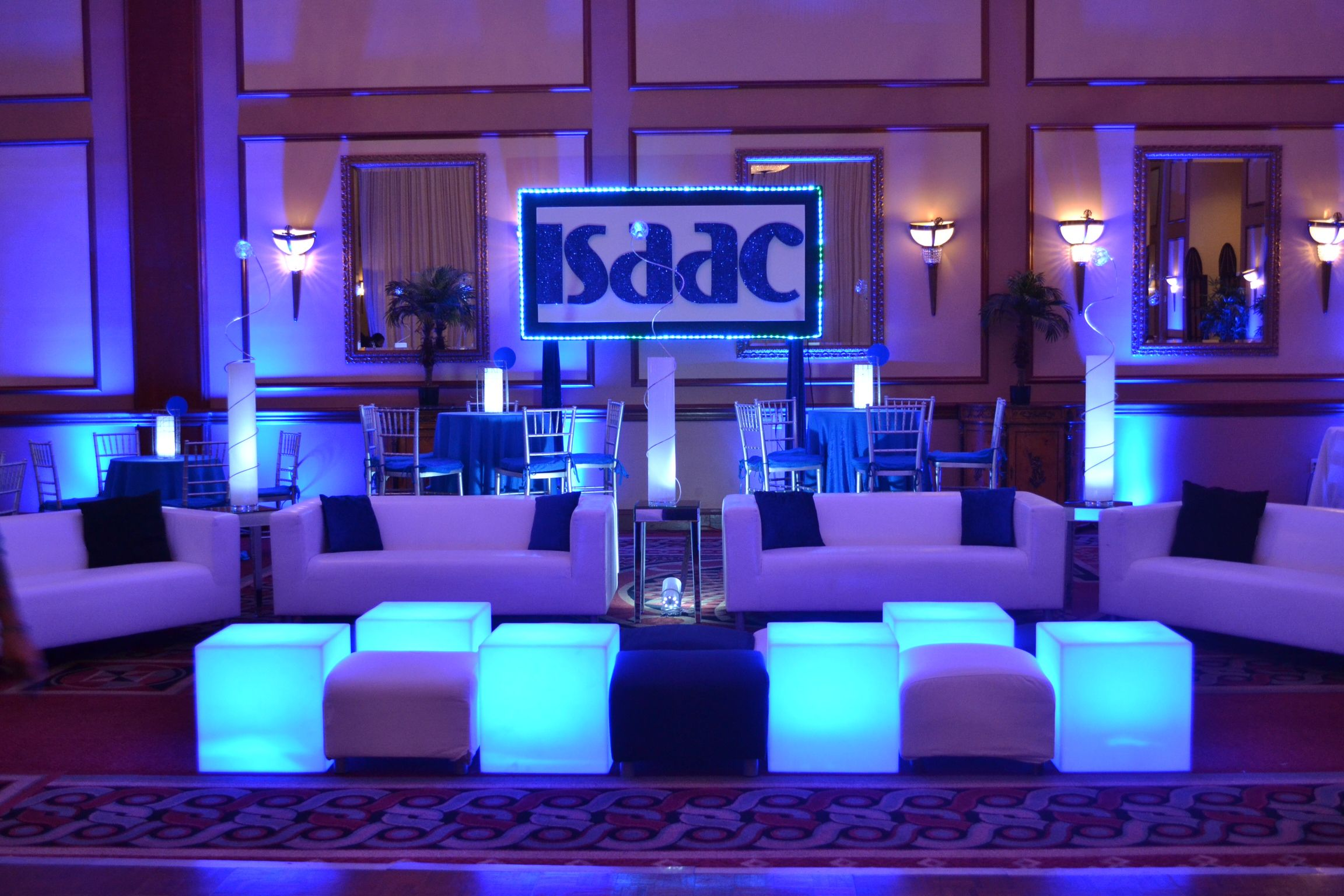 Bar Mitzvah Event Decor Blue Color Scheme Glowing Sculpture Centerpieces  Party Perfect Boca Raton, FL