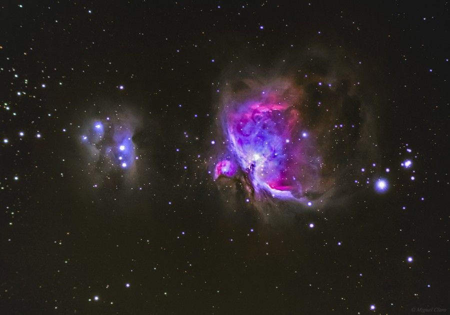 M42 Great Nebula in Orion & M43 a circular Nebula on the left