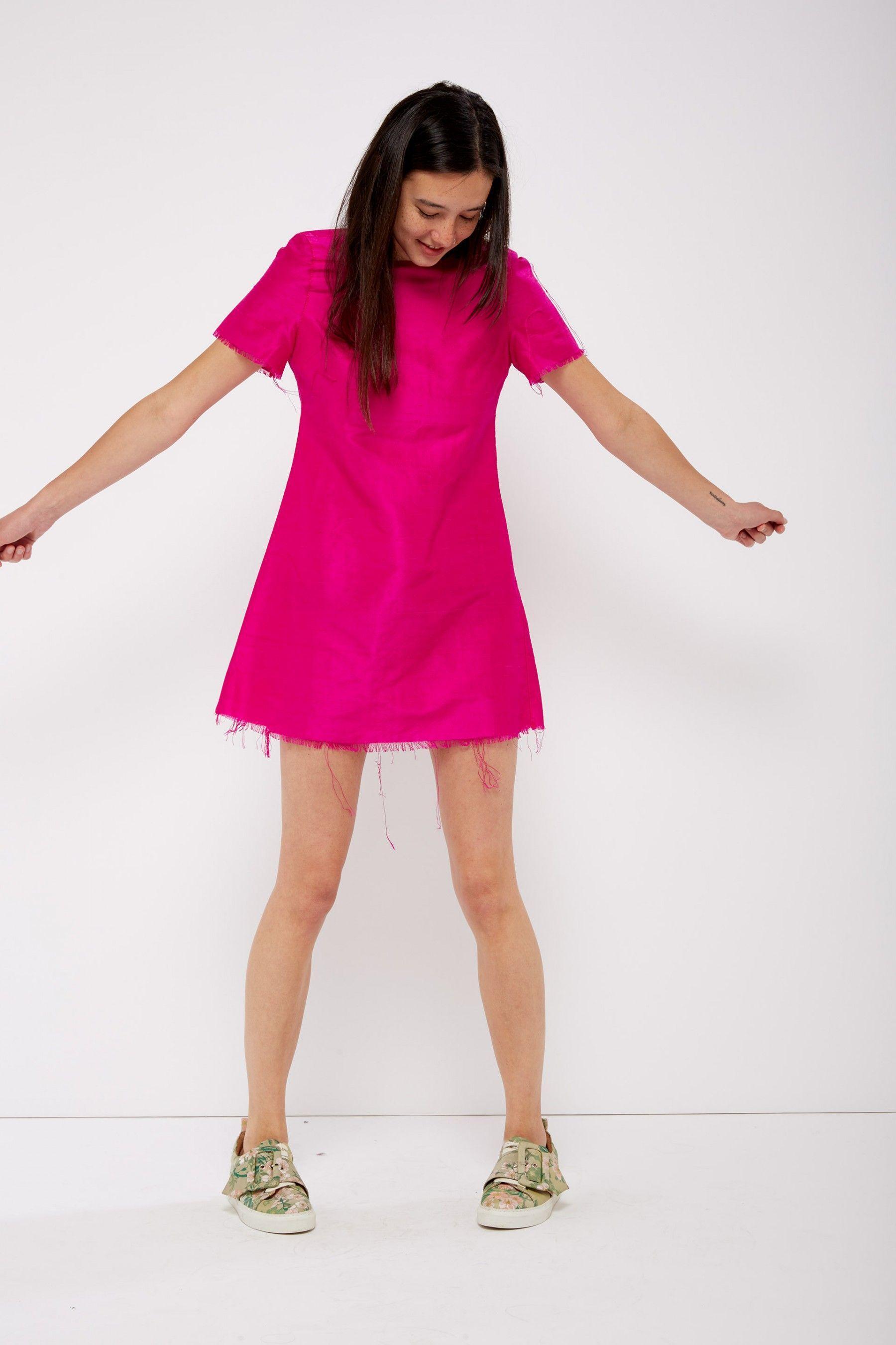 Fuchsia raw silk mini dress