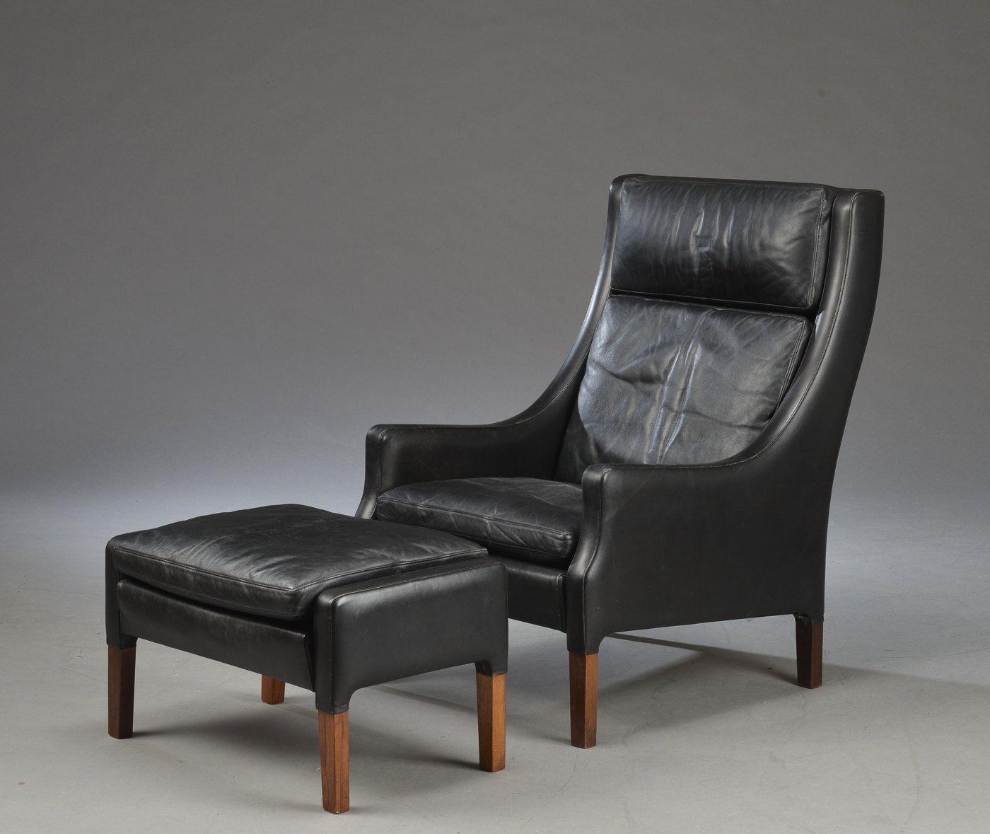 Wonderful Danish Black Leather Armchair Easychair Lounge Chair