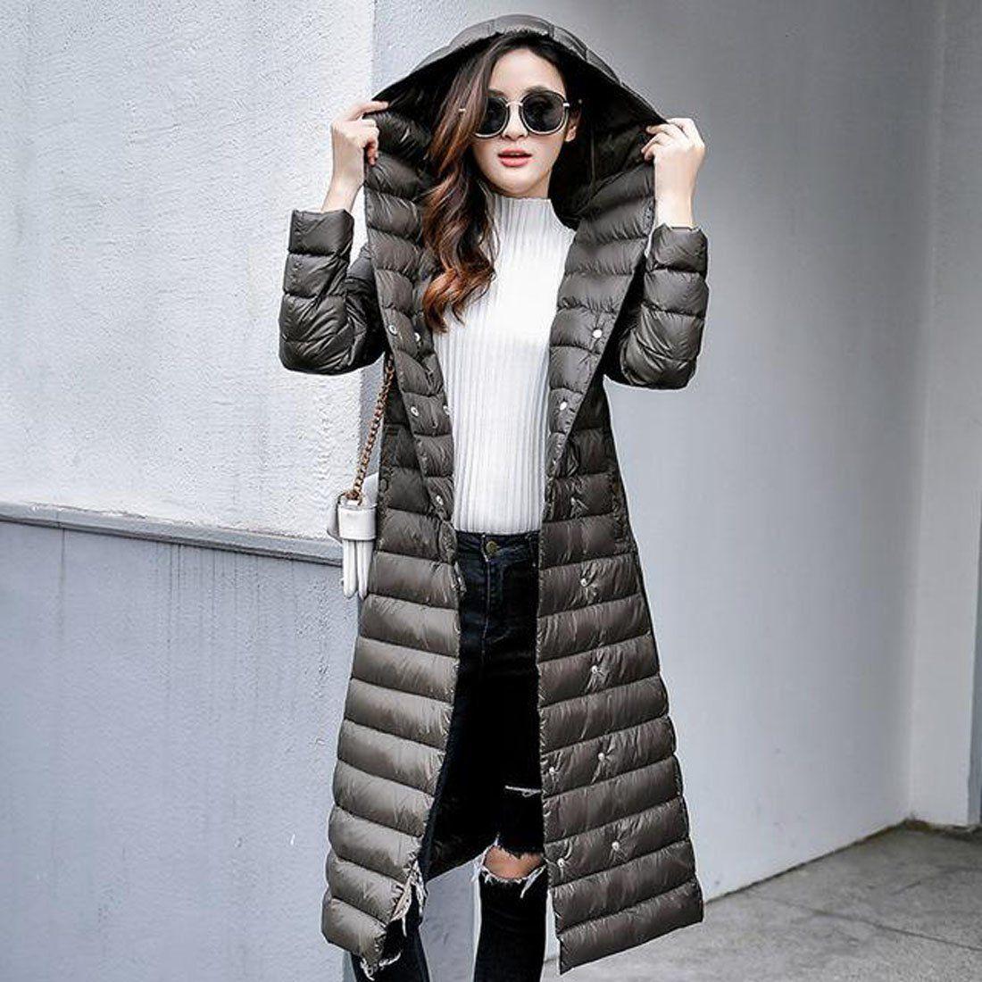 13bd5aa4796bb Women's Down Coat Vintage Ultralight Long Warm with Belt for Winter ...