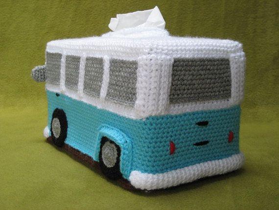 Haakpatroon Tissuebox Hoes VW Volkswagen Bus T1 Hippiebus