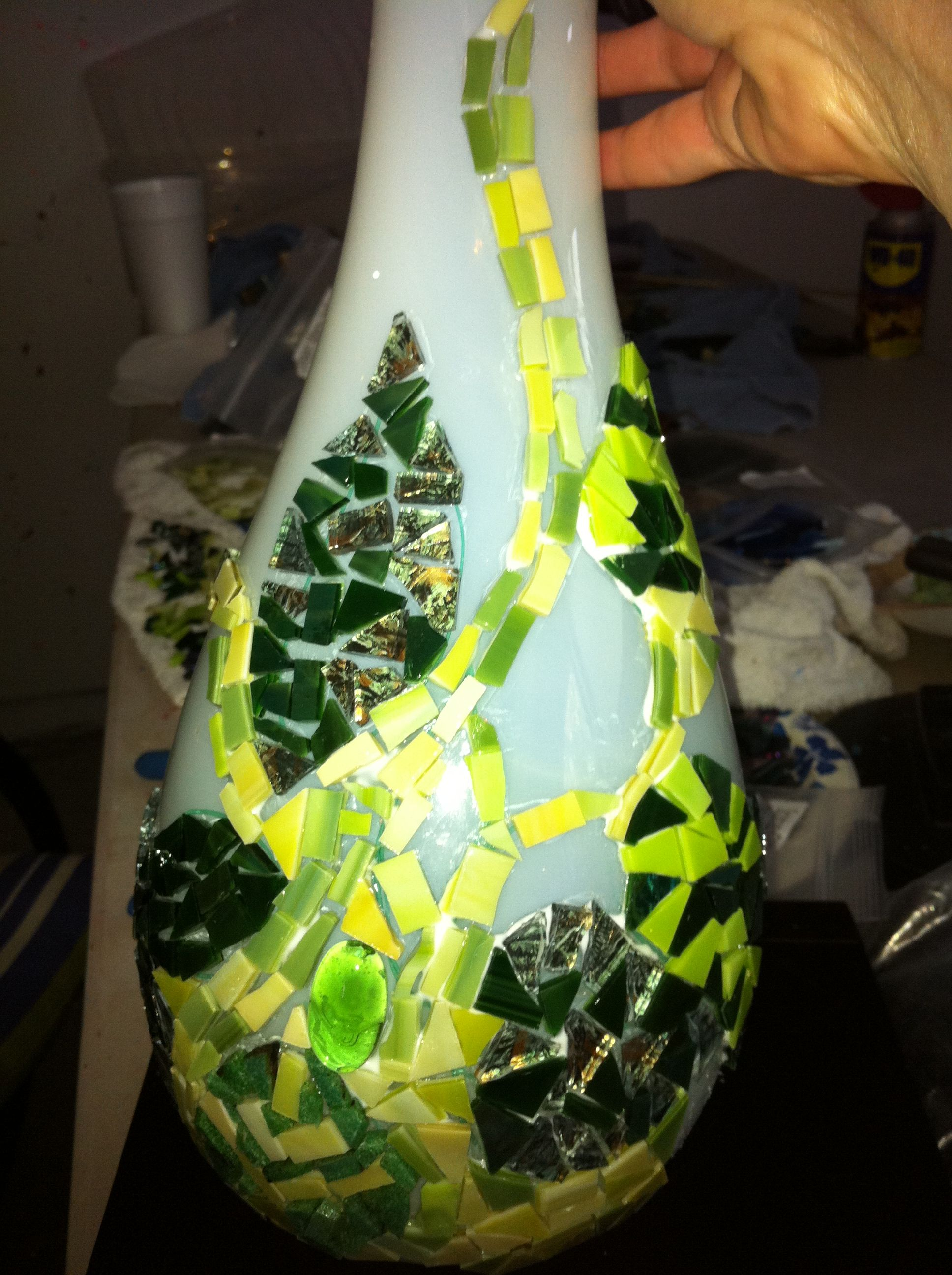 old glass vase with glass mosaics    Love the new over the old and how they complement each other!