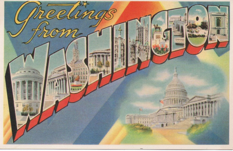 One Unused C1950s Postcard Greetings From Washington Dc Good