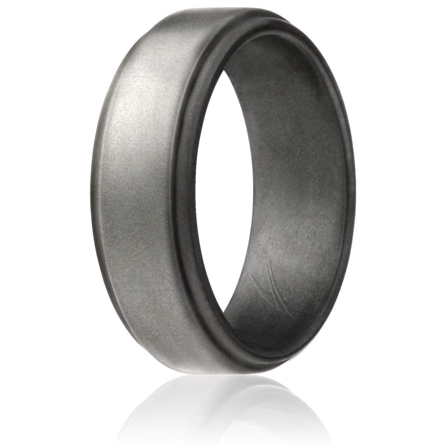 Roq Silicone Wedding Ring For Men 4 Packs Singles Silicone Rubber Wedding Bands Step Edge Sleek Design Metallic Black And Camo Colors Lovely Novelty Rubber Wedding Band