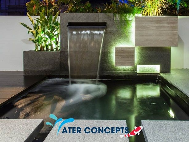 Contemporary koi ponds google search fish ponds pond for Modern pond waterfall