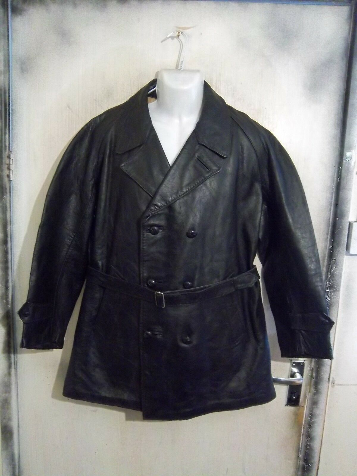 Vintage 40's Italian Police Officers Goatskin Leather Pea Coat Jacket Size XL Wool Lined, Motorcycle or Classic Car