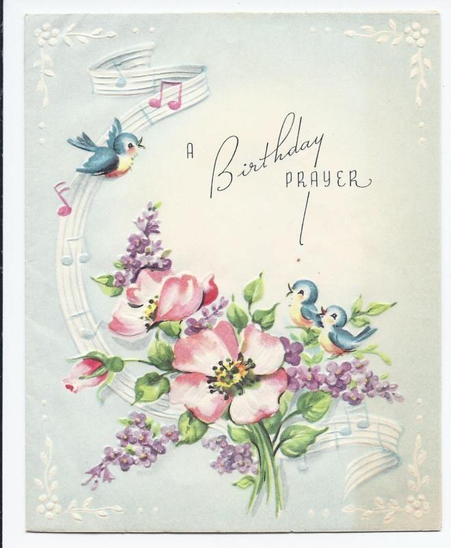 906 Vintage 1940s Cute Bluebird Singing Musical Notes Flowers Birthday Card Flower Birthday Cards Vintage Birthday Cards Birthday Cards
