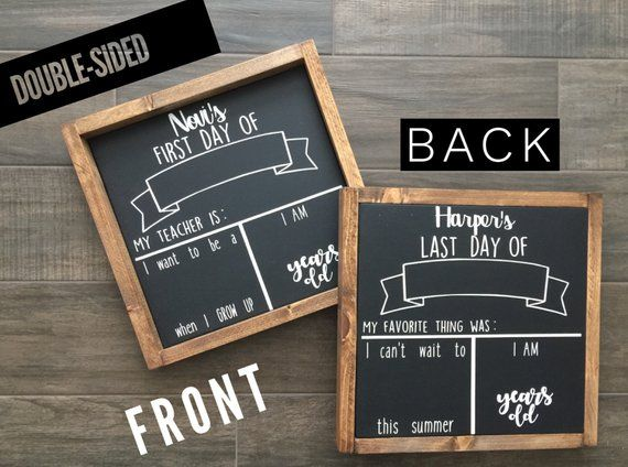 DOUBLE-SIDED Personalized First Day of School Sign/ Last Day of School Chalkboard/ First Day Of Scho #firstdayofschoolsign