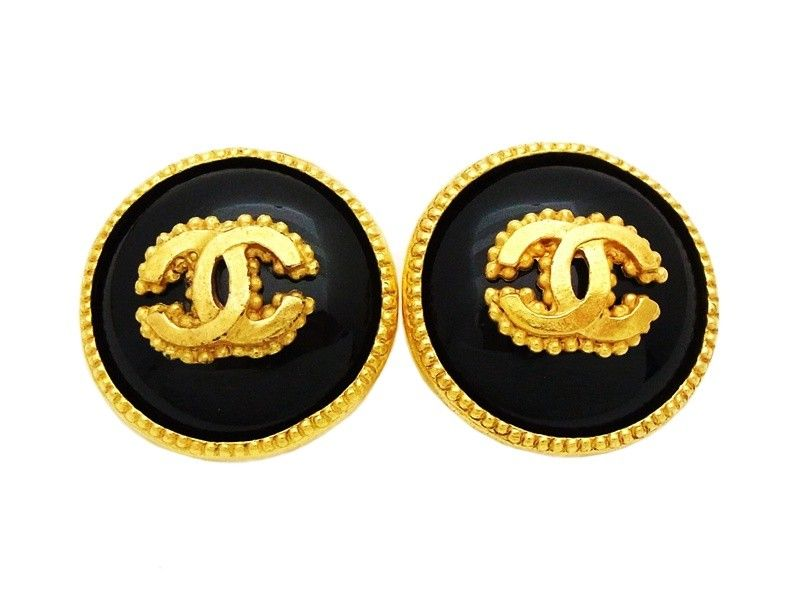 e4f339e4f4c3 Chanel Earrings | Authentic vintage Chanel earrings gold CC black glass  stone round COCO