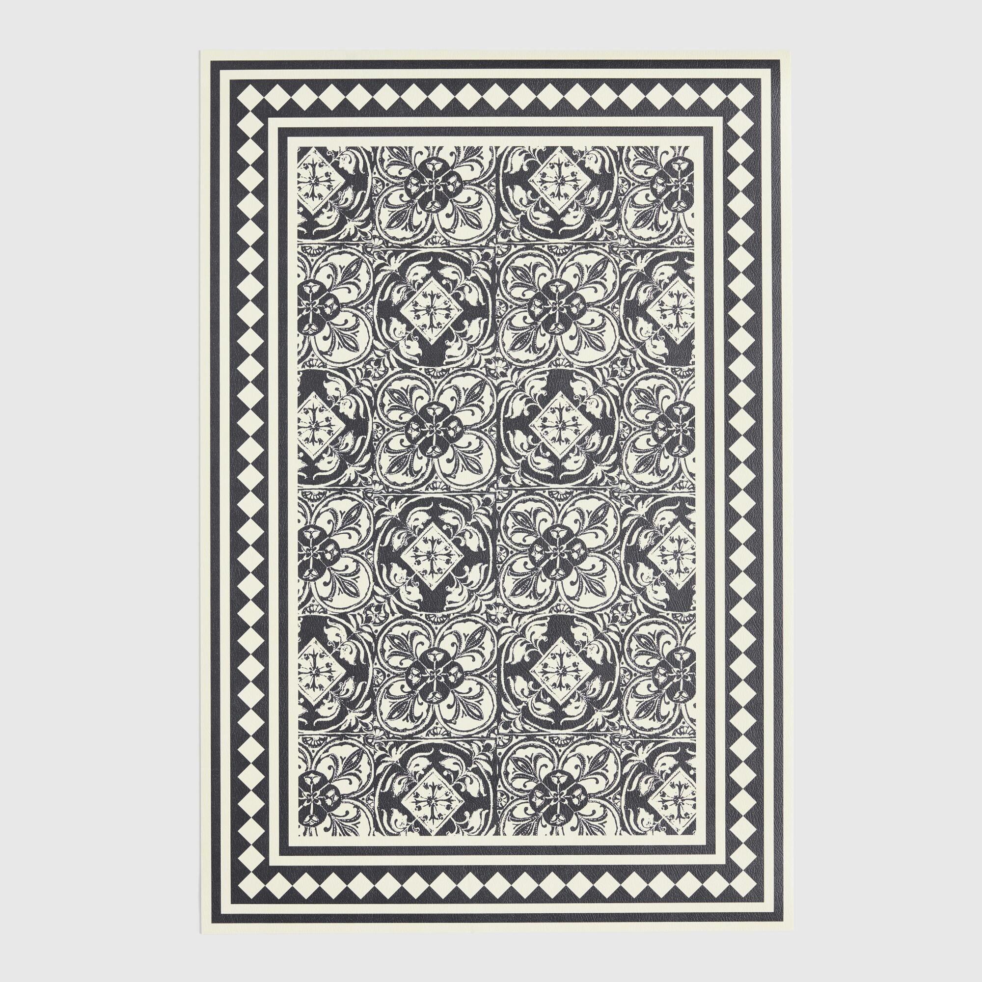 Black And Ivory Diamond Print Vinyl Area Rug Black White