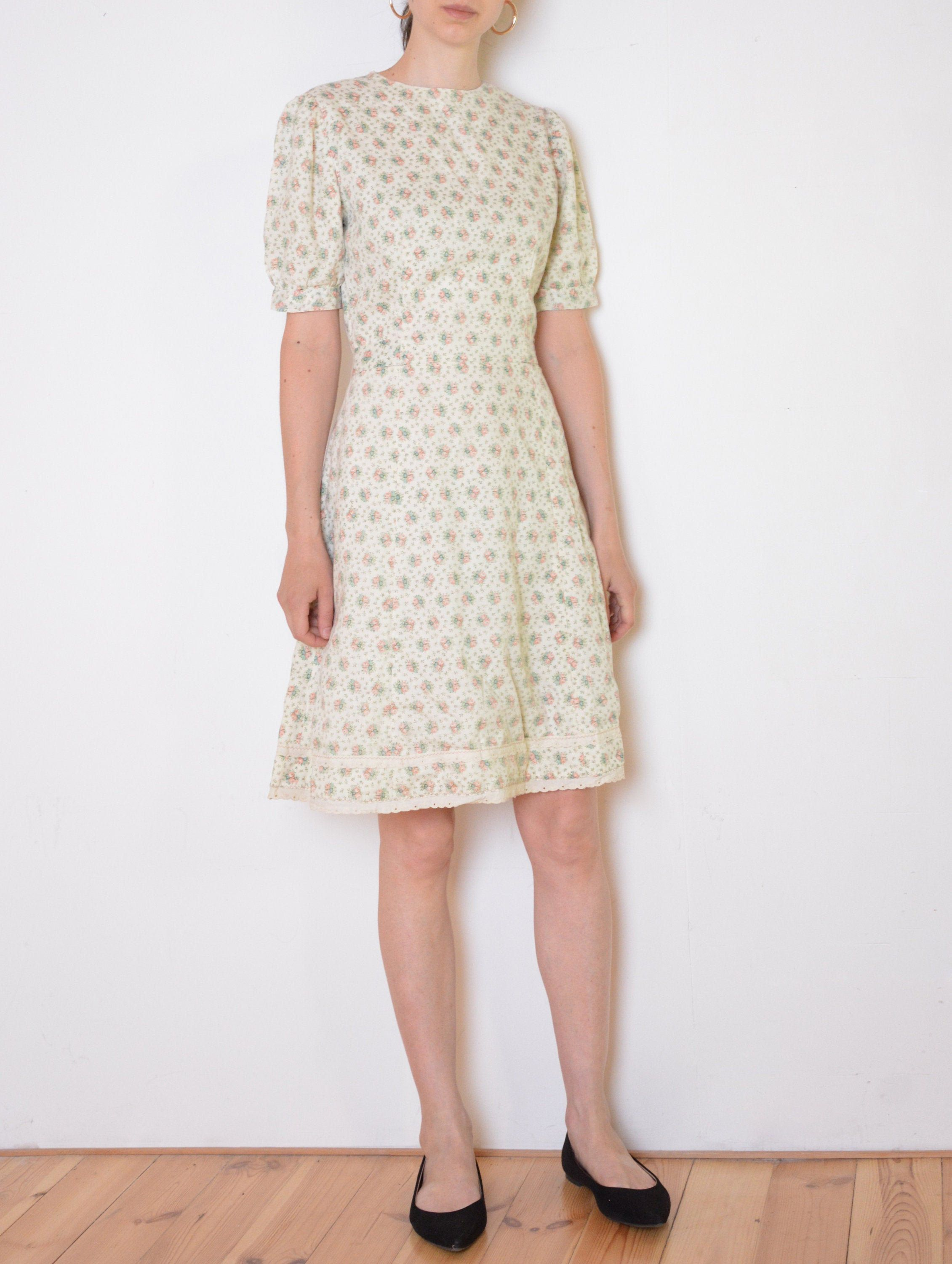 Vintage Green and White Geometric Designs Polyester Retro Dress