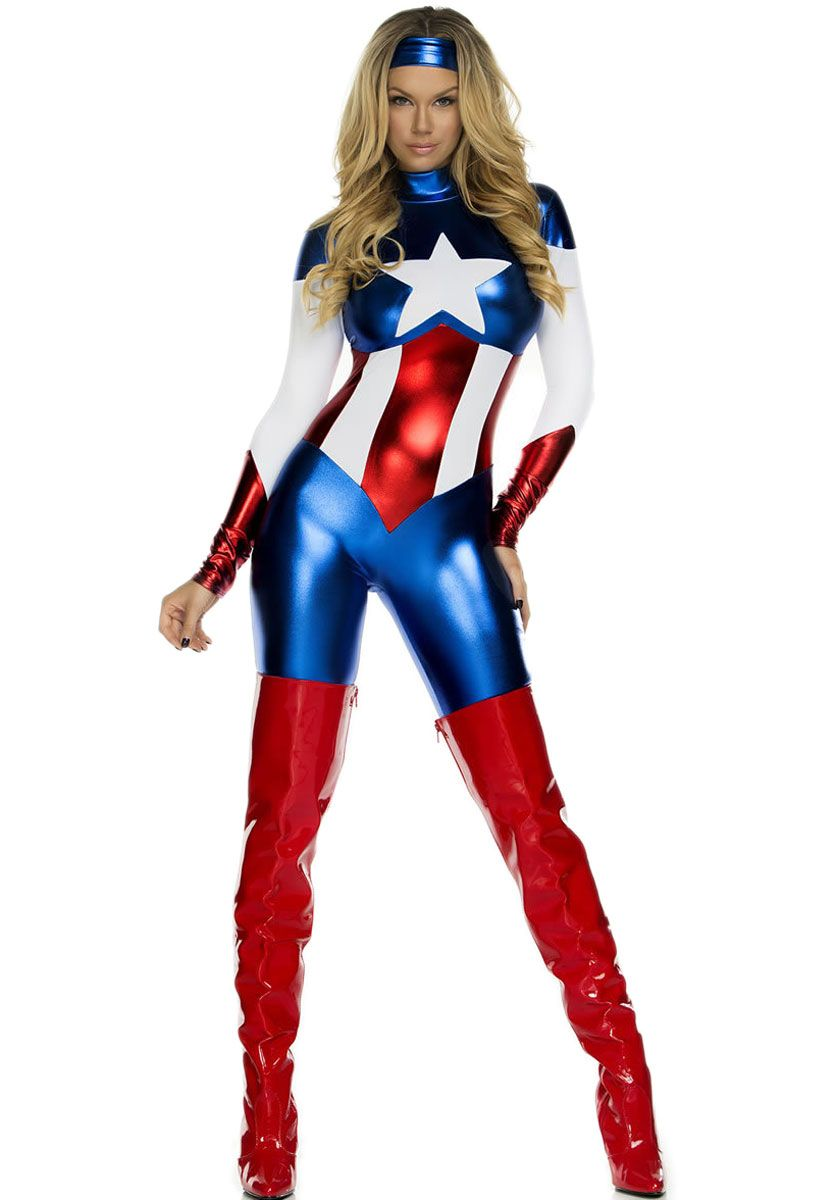 Female Captain America Costume Adult Superhero Fancy Dress