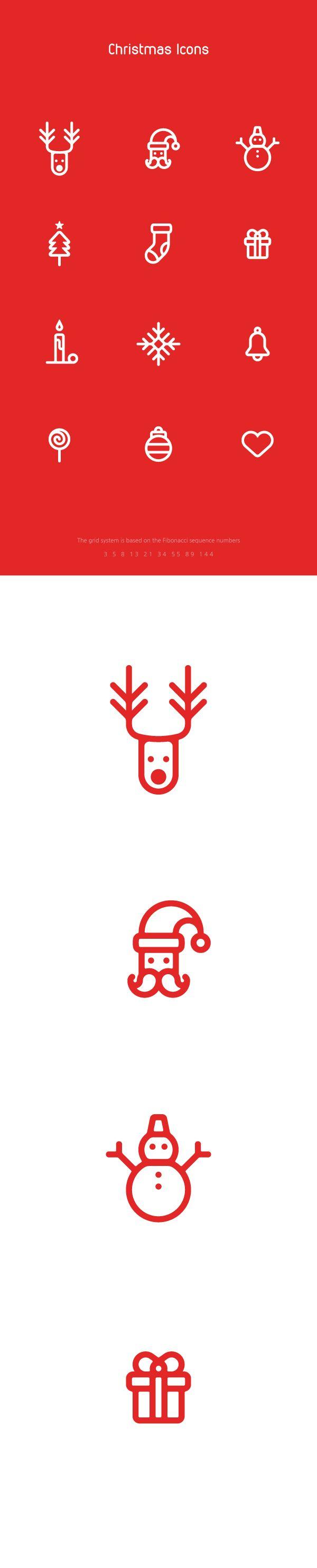 Christmas Icons on Behance Christmas icons, Christmas