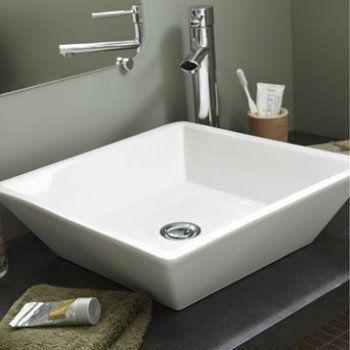 Vasque à poser céramique l42 x P42 cm blanc Lodge Leroy Merlin - peinture pour evier ceramique