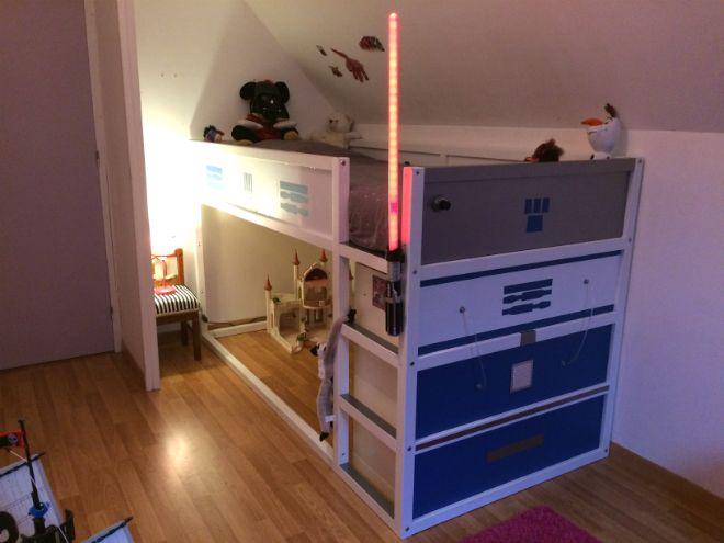 un lit kura transform en lit star wars r2d2 star wars ikea et tuto. Black Bedroom Furniture Sets. Home Design Ideas