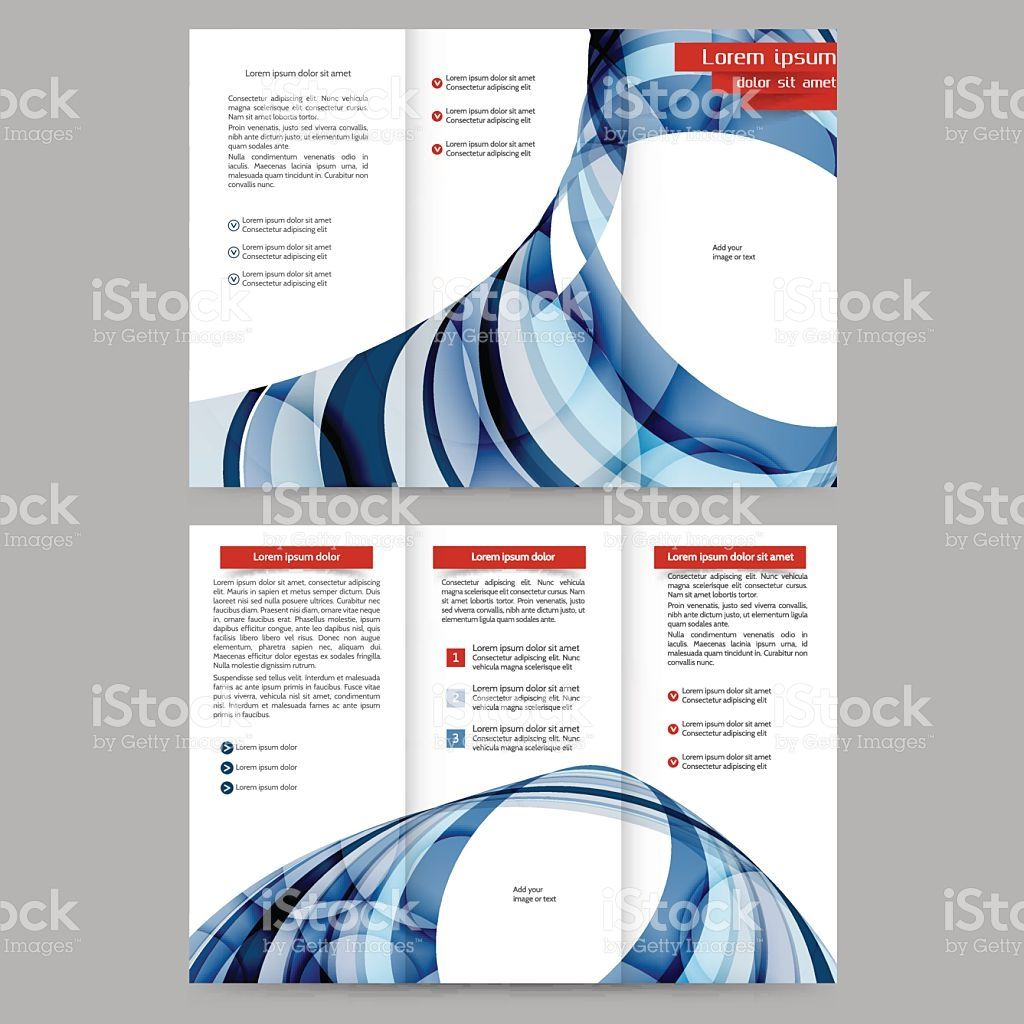 Color Tri Fold Business Brochure Design Template With Abstract