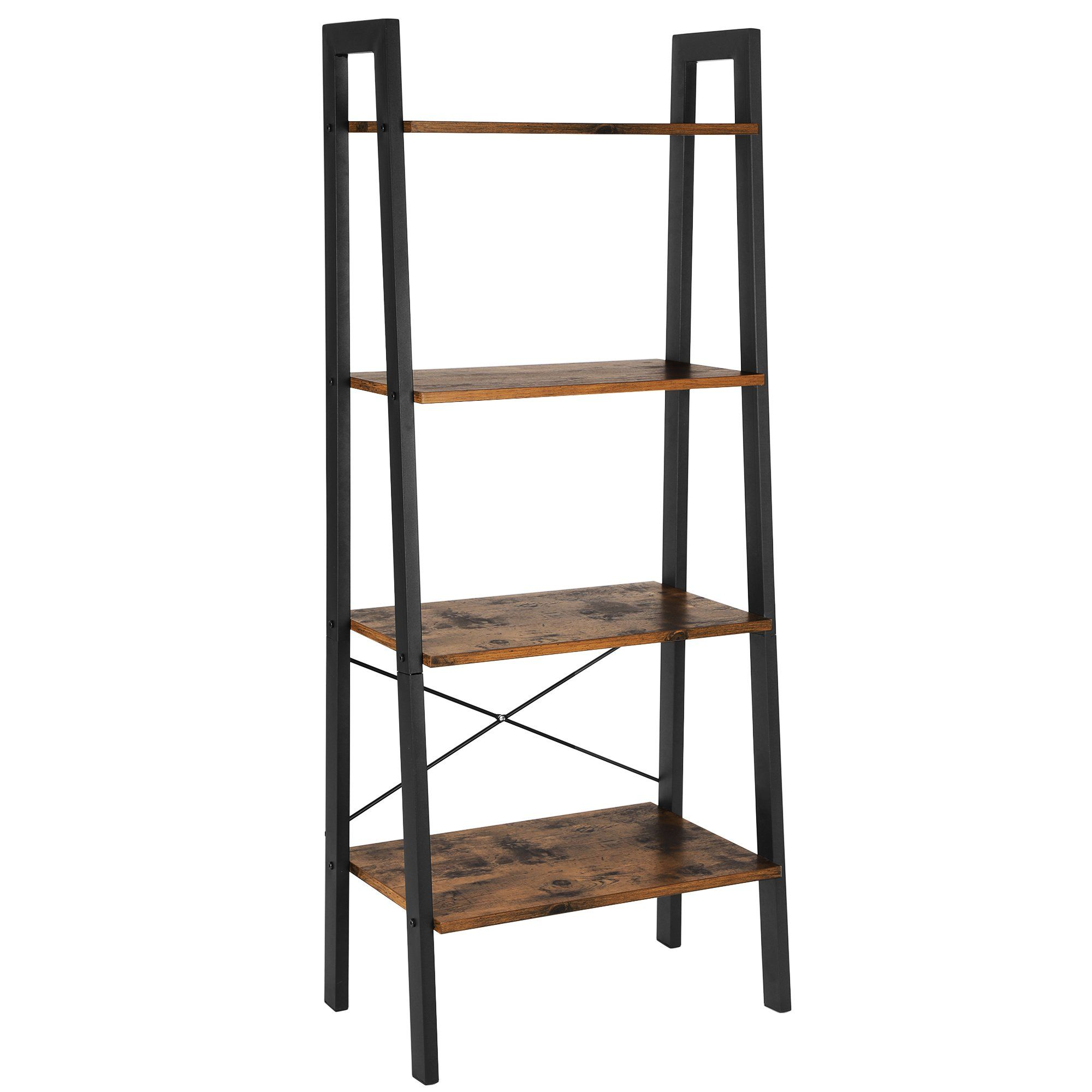 Songmics Vintage Ladder Shelf 4 Tier Bookcase Plant Stand