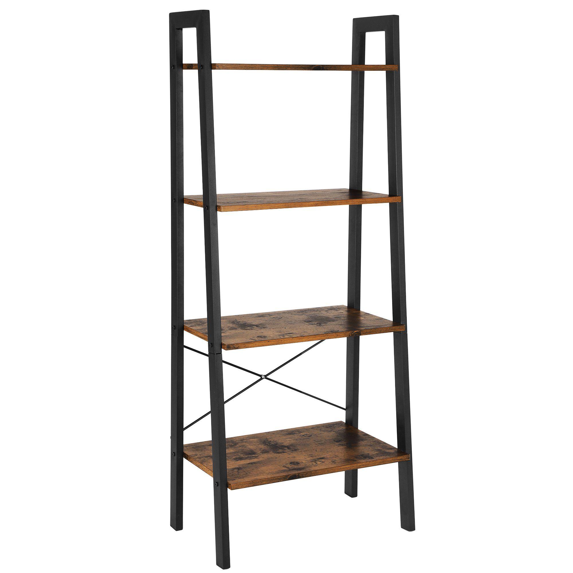 Songmics Vintage Ladder Shelf 4 Tier Bookcase Plant Stand