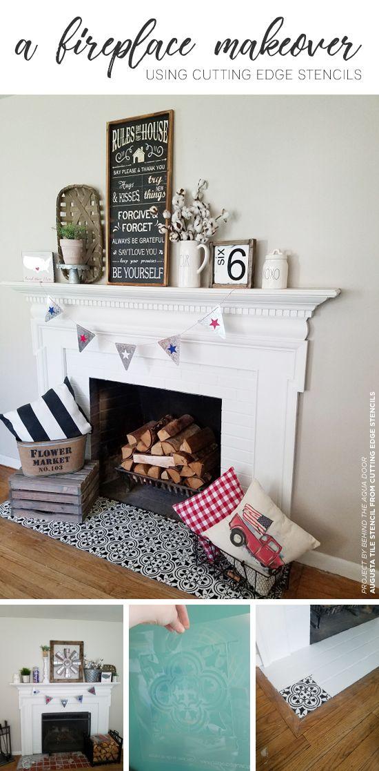 A Farmhouse Fireplace Makeover Using Stencils Home Designs